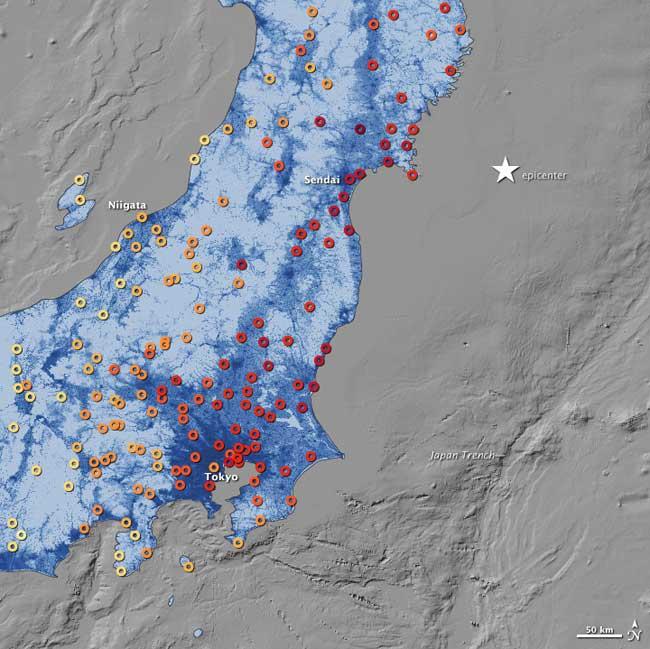 mapa de intensidades en el terremoto de Japón, marzo 2011