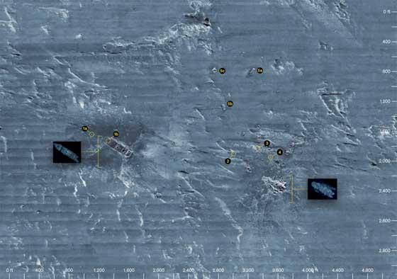 mapa de sonar de los restos del RMS Titanic