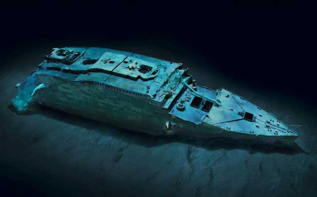 imagen modelada del RMS Titanic sumergido
