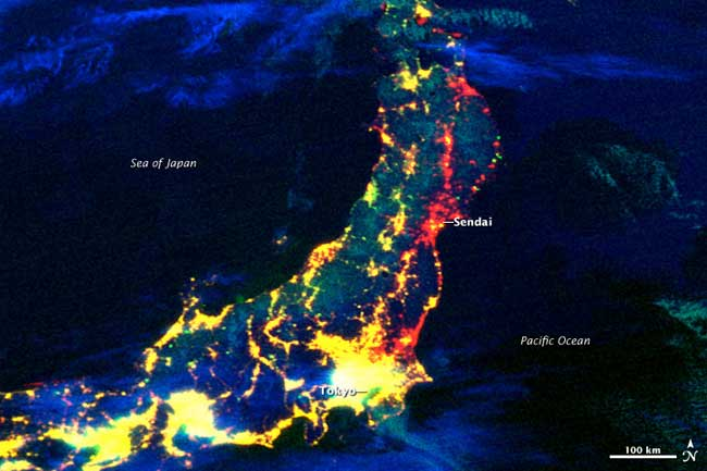 pérdida de electricidad en Japón tras el terremoto