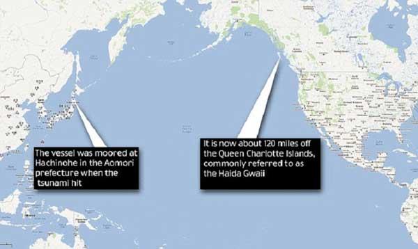 distancia recorrida por el pesquero japonés arrastrado por el tsunami