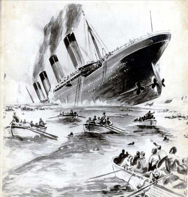 pintura del hundimiento del Titanic