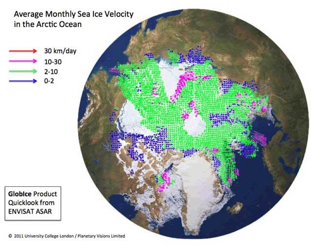 promedio de deriva mensual del hielo marino del Ártico