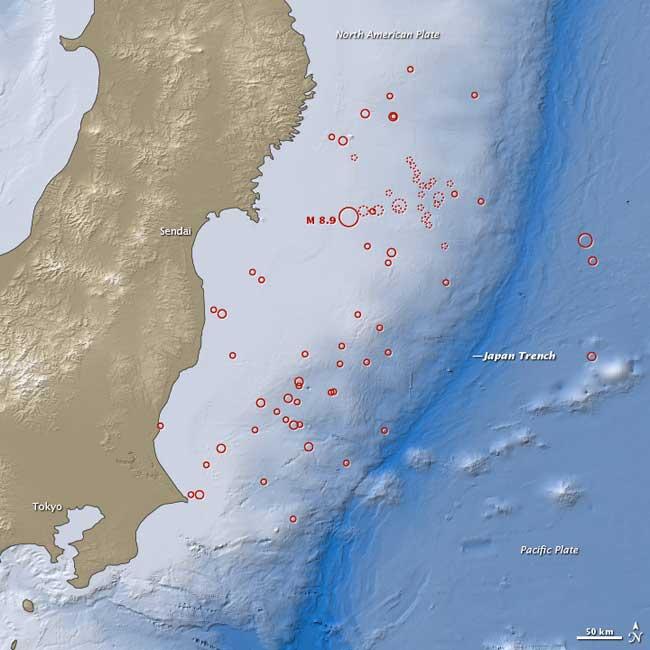 réplicas de terremotos cerca de Sendai, Japón