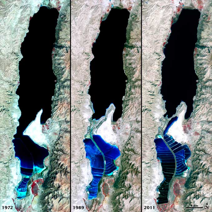 expansión salinas en el Mar Muerto de 1972 al 2011
