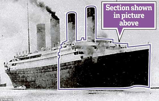 sección de la imagen de sonar del Titanic