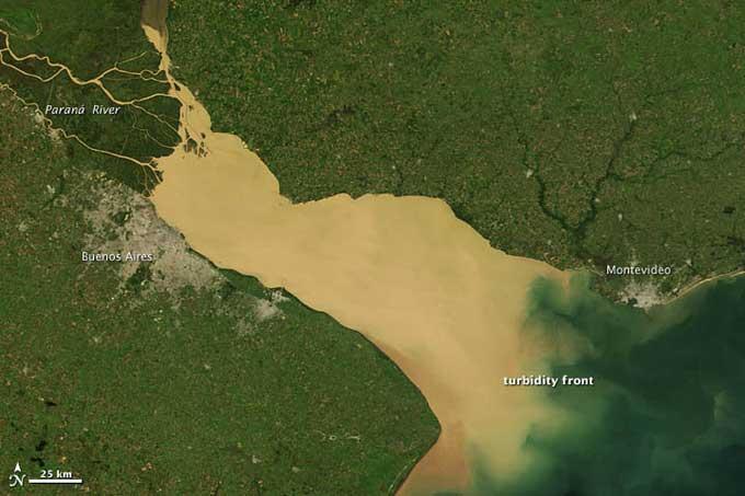 sedimentos en el estuario del río de la Plata
