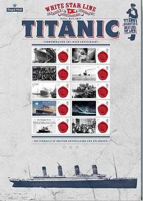 sellos 100 aniversario del Titanic
