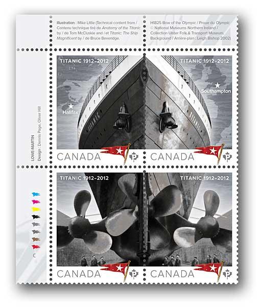 sellos 100 aniversario del Titanic de Canadá