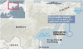 situación Península de Kamchatka