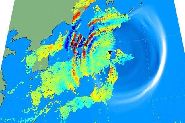 el terremoto y tsunami de japón se reflejó en la atmosfera