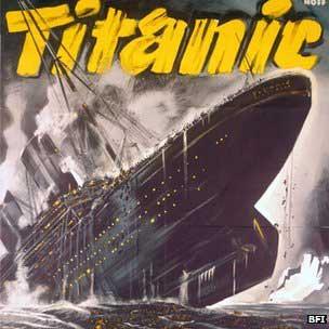 El Titanic se hunde, grabado histórico