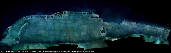 Titanic hundido, perfil de estribor