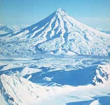 volcán Kronotsky en la Península de Kamchatka