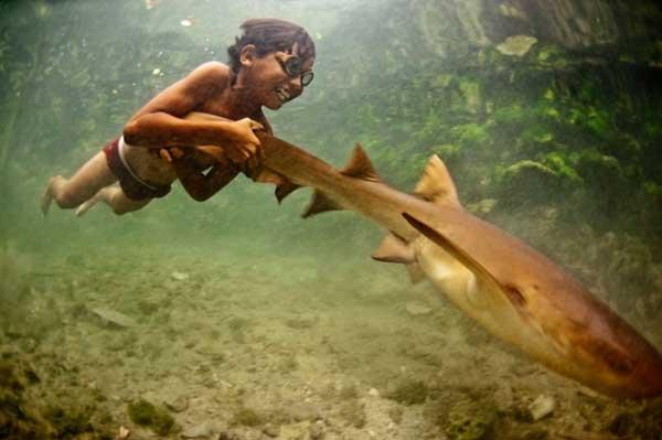 niño Bajau con tiburón