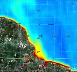 desembocadura del río Amazonas en el Océano Atlántico