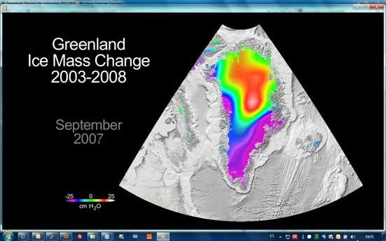 disminución del hielo en Groenlandia, 2003-2008
