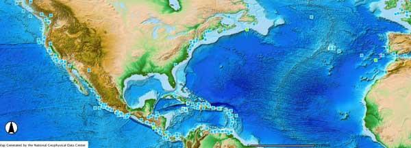 mapa interactivo de tsunamis, NOAA