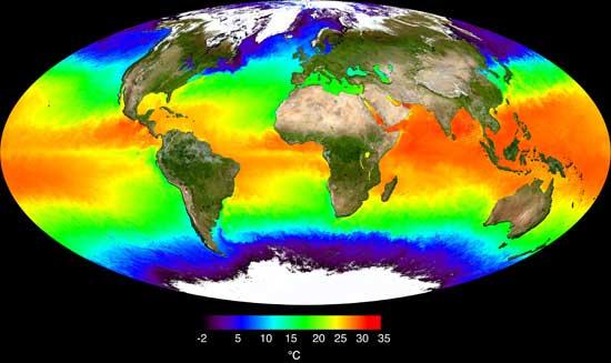 mapa de la NASA, temperatura de los océanos
