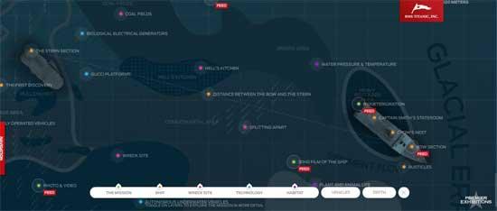 mapa interactivo de los restos hundidos del Titanic
