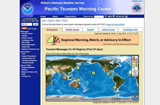 alerta de tsunami en Indonesia abril 2012