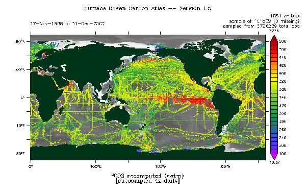 atlas del CO2 en la superficie del océano