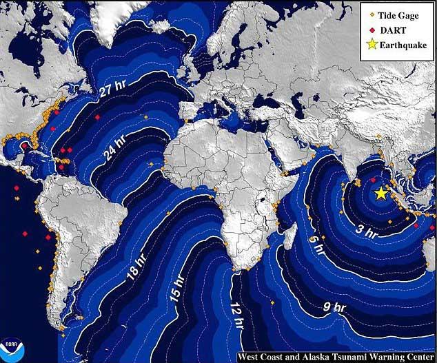 desplazamiento olas tsunami en Indonesia 11 de abril 2012