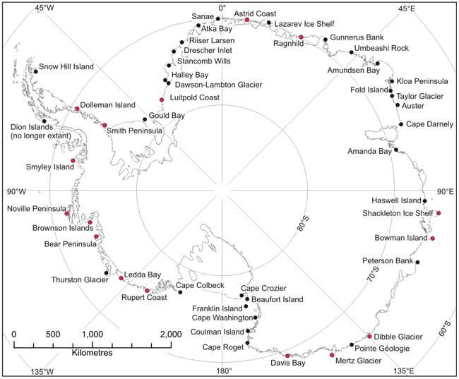 distribución de colonias de pingüino emperador en la Antártida