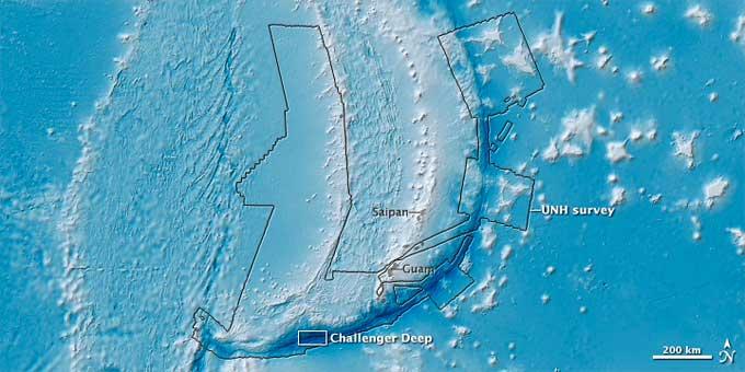 Fosa de las Marianas, mapa de sonar multihaz