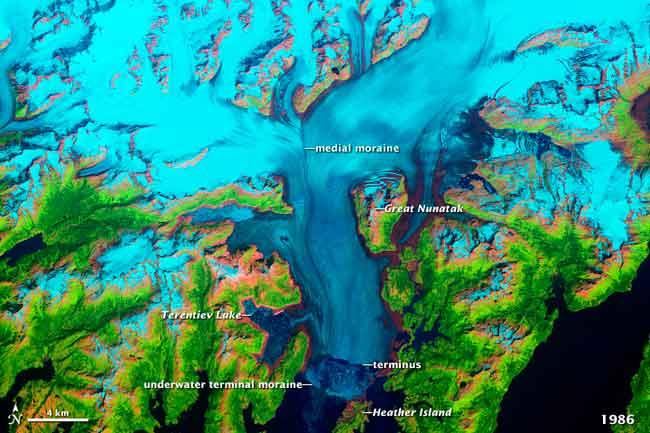 glaciar Columbia, Alaska, en 1986