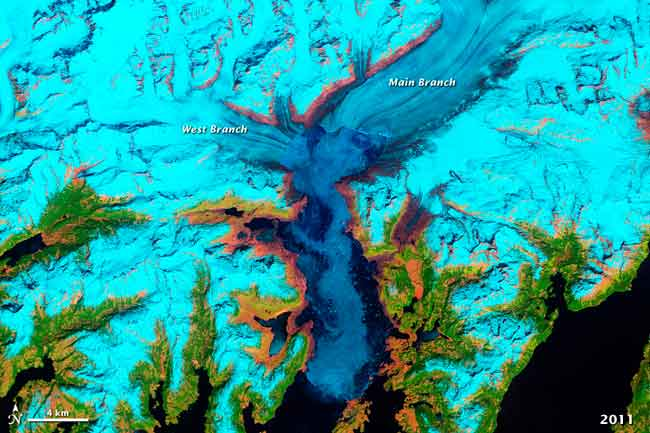 glaciar Columbia, Alaska, en 2011