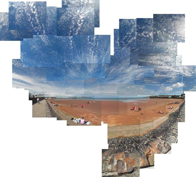 mosaico fotográfico playa de Baignton