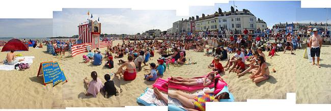 mosaico fotográfico playa de Weymouth un día claro