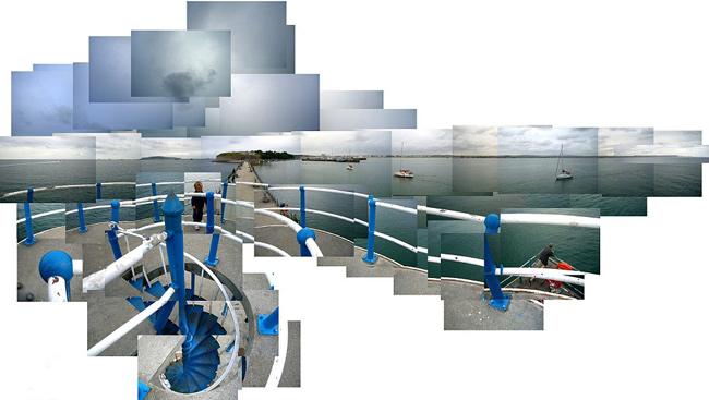 mosaico fotográfico playa de Weymouth un día nublado