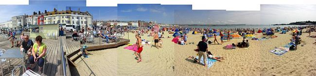 mosaico fotográfico playa de Weymouth con sol