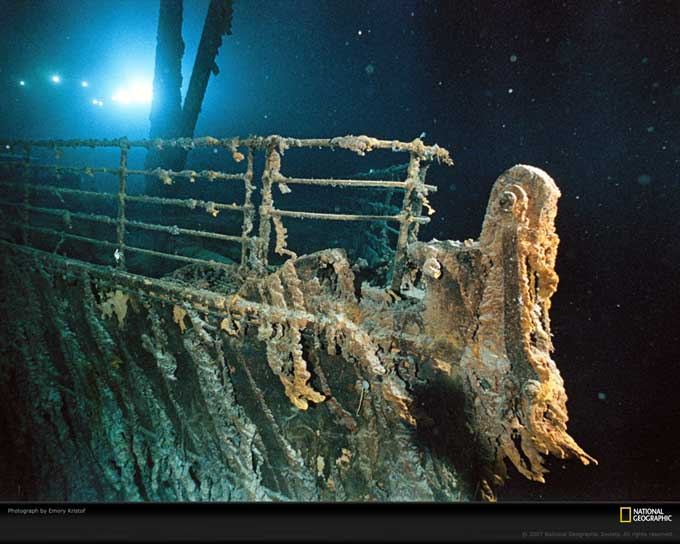 proa sumergida del Titanic