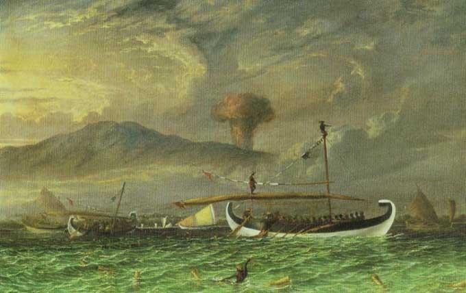 recreación de posible erupción del volcán Tambora