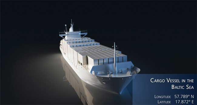 rutas de buques y exctensión del hielo en el mar Báltico