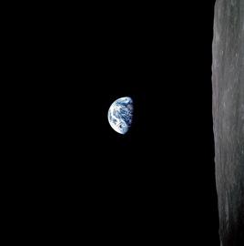 salida de la Tierra desde la Luna - visión real desde el Apollo 8, 1968