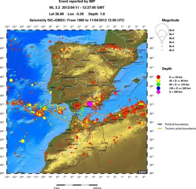 terremotos históricos sur de Espana desde 1969