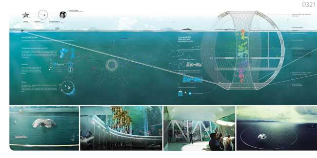 torre de peces de plástico, esquema