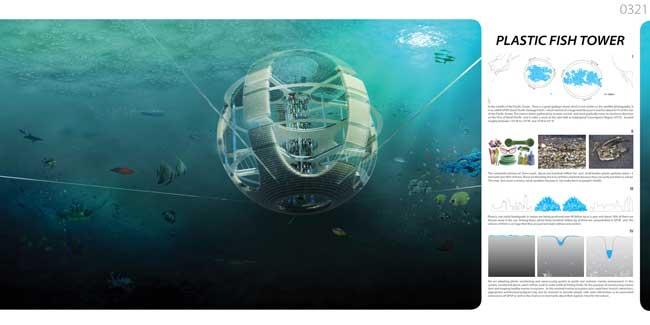 torre de peces de plástico, planos