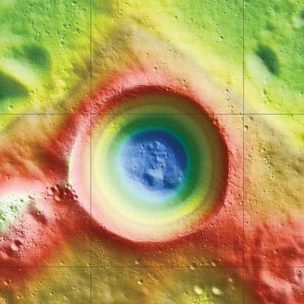 interior del cráter Shackleton en la Luna
