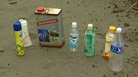 embases arrastrados por el tsunami de Japón
