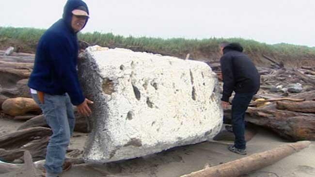 espuma de poliestireno en una playa de Haida Gwaii, Canadá