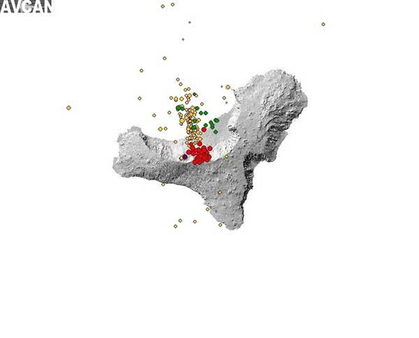 mapa del enjambre sísmico El Hierro