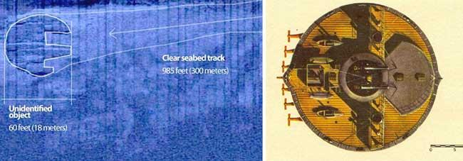 misterioso círculo sumergido en el Mar Báltico y cañonero circular ruso