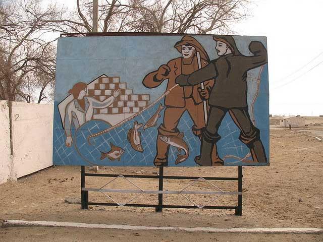 mural de pescadores en Mo'ynaq