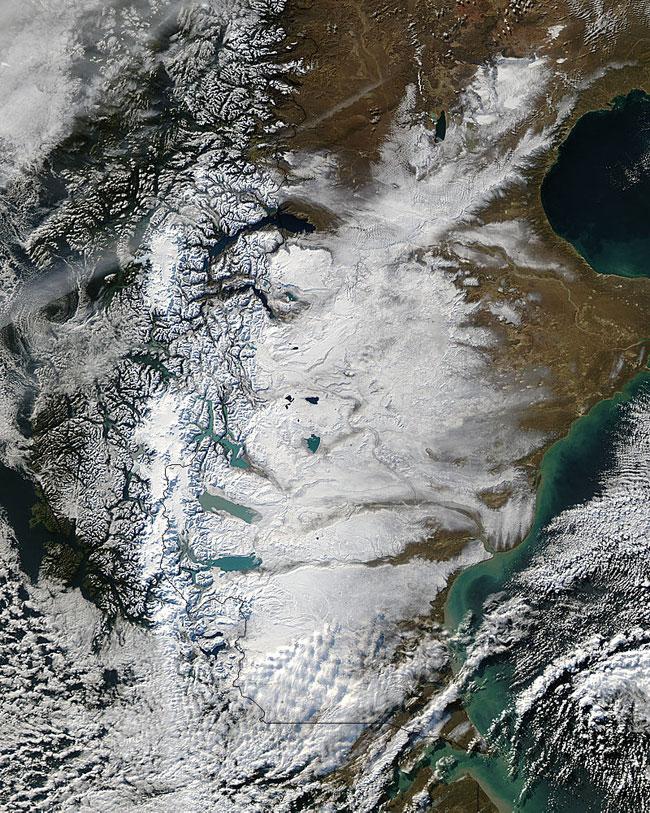 nieve en la Patagonia Austral a finales de mayo de 2012