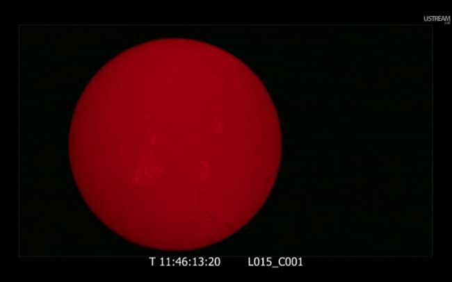 el Sol a falta de 25 minutos para el tránsito de Venus 2012